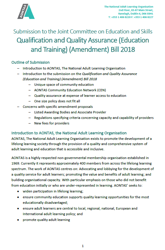 Qualifications and Quality Assurance Amendment Bill 2018 - AONTAS - Website Version pdf